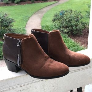 Two-tone ankle booties